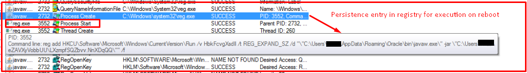 Fig 8: Persistence Entry in Registry